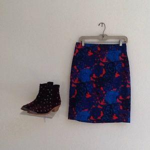 ANN TAYLOR/C0BALT BLUE & RED PENCIL SKIRT